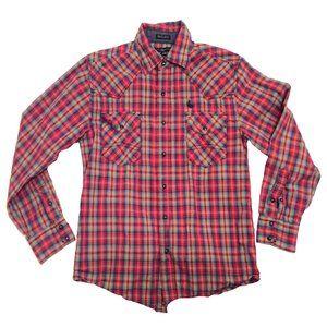 Cody James Ladies Western Style Plaid Shirt Sz Med
